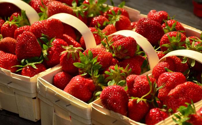 Frische Erdbeeren im Körbchen